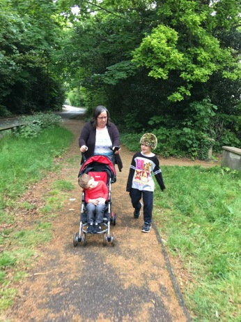 The boys and Mom on the way to the Runnymede Memorial